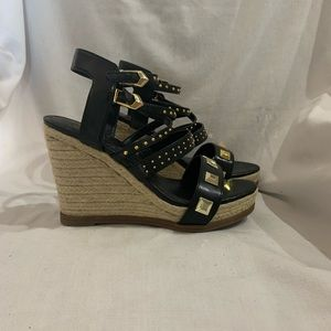 FERGIE -  black and gold wedge sandals Sz 9.5